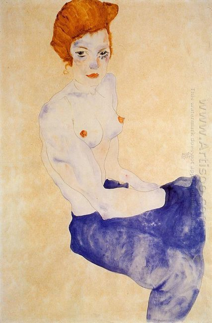 seated girl with bare torso and light blue skirt 1911