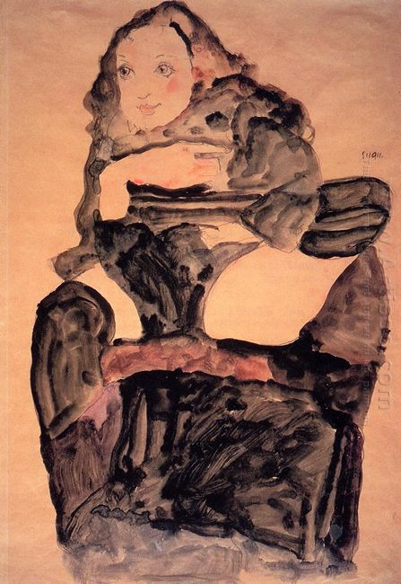 seated girl with raised left leg 1911