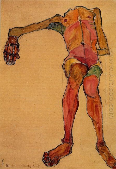 seated male nude right hand outstretched 1910