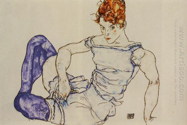 seated woman in violet stockings 1917