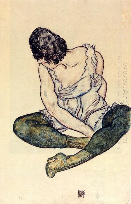seated woman with green stockings 1918