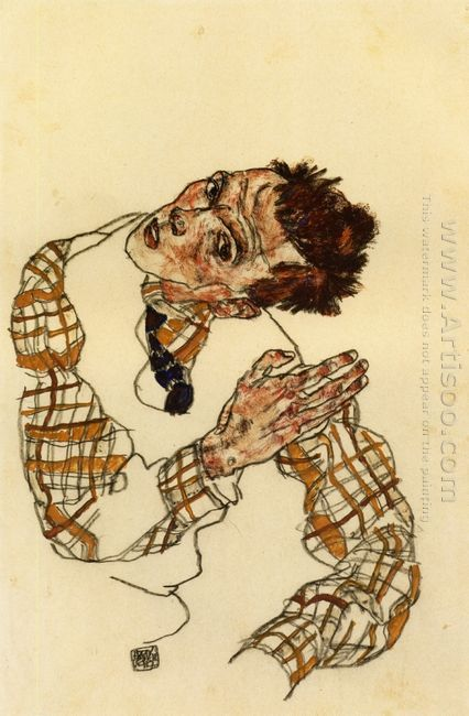 self portrait with checkered shirt 1917