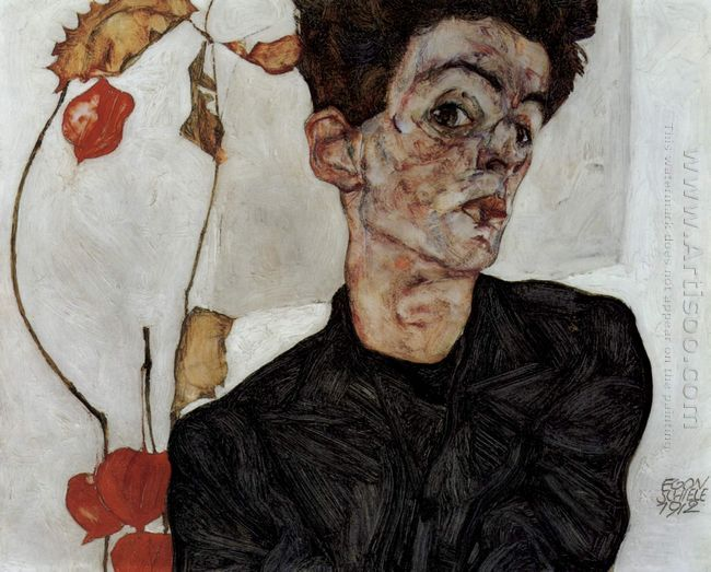 self portrait with chinese lantern fruits 1912