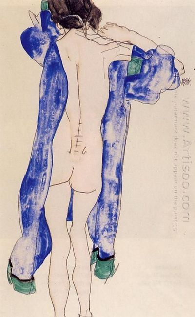 standing female nude in a blue robe 1913