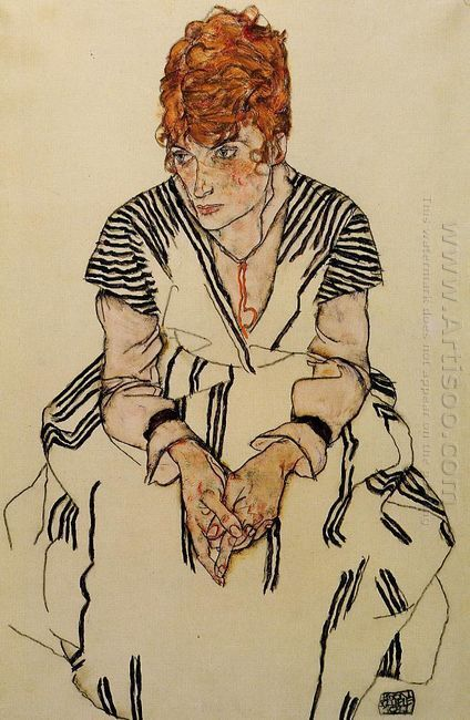 the artist s sister in law in a striped dress 1917