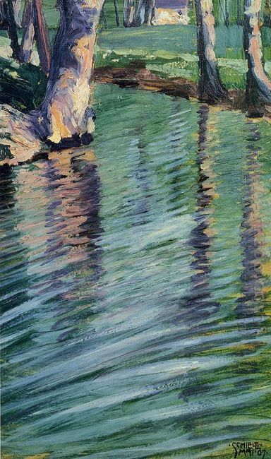 trees mirrored in a pond 1907