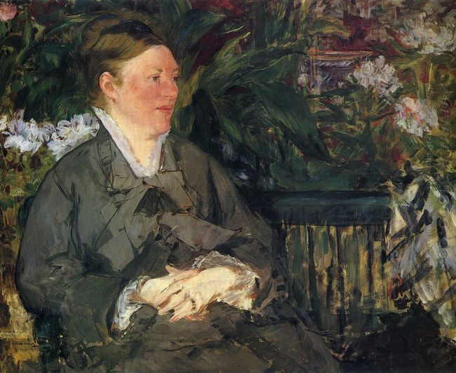 madame manet in conservatory 1879