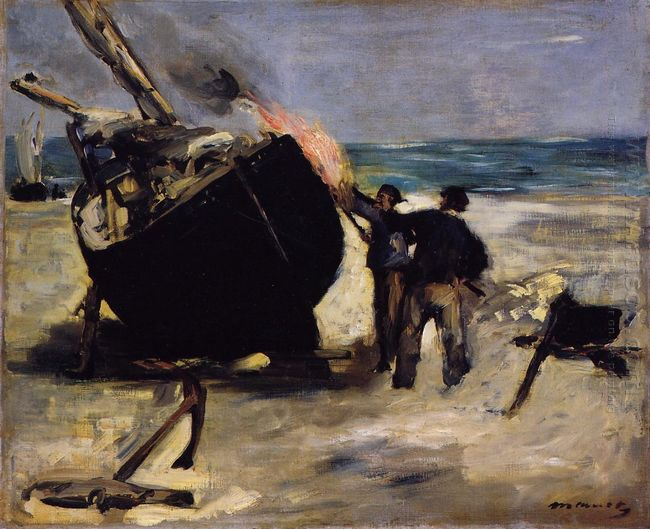 tarring the boat 1873
