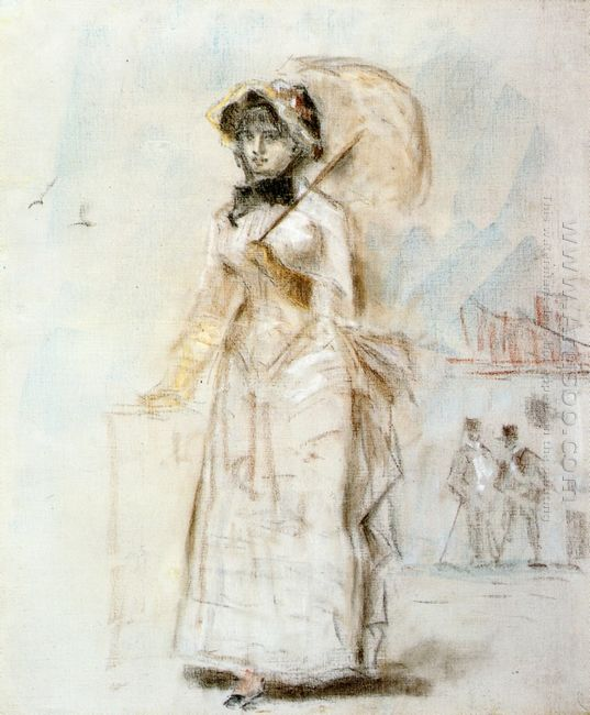 young woman taking a walk holding an open umbrella 1880