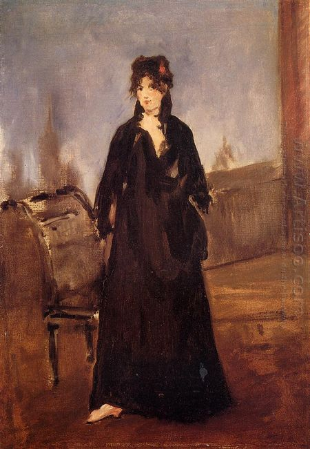 young woman with a pink shoe portrait of berthe morisot 1868