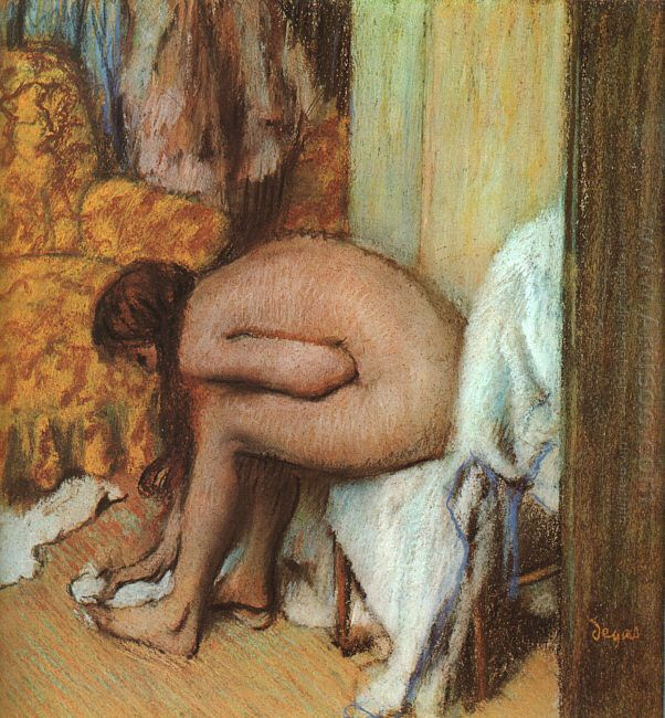 after the bath woman drying her feet 1886