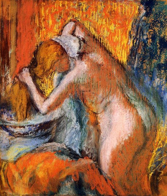 after the bath woman drying her hair