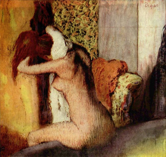 after the bath woman drying her nape 1895