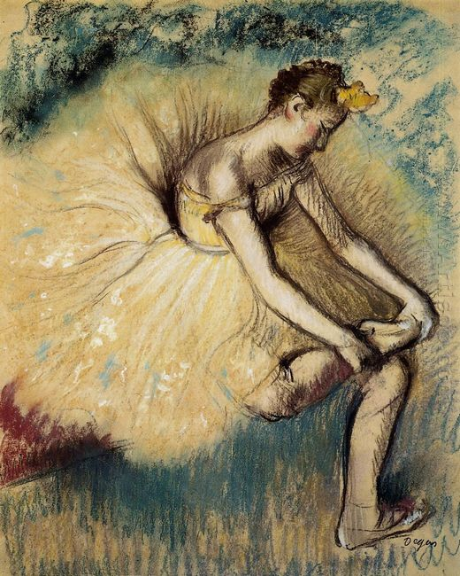 dancer putting on her slipper 1896