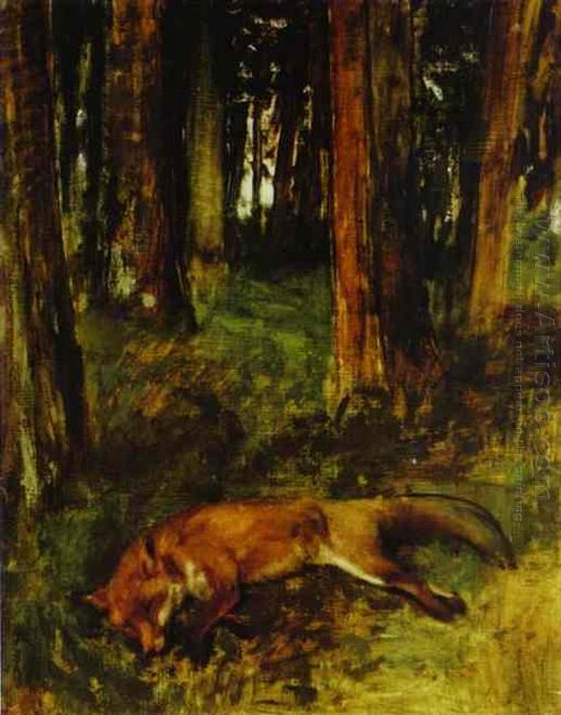 dead fox lying in the undergrowth 1865