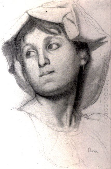 head of a young roman girl 1856