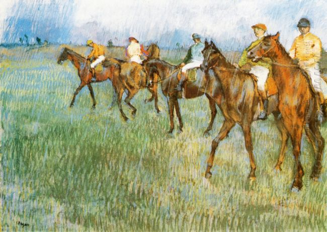jockeys in the rain 1886