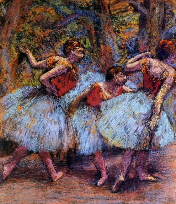 three dancers blue skirts red blouses