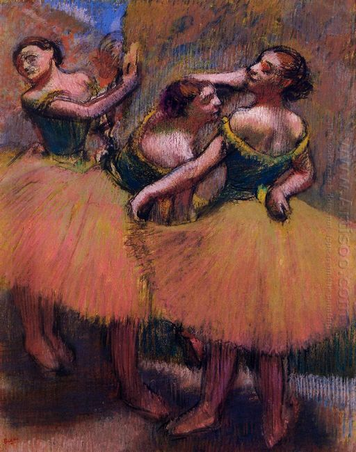 three dancers green blouses