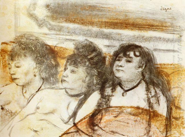 three girls sitting en face 1879