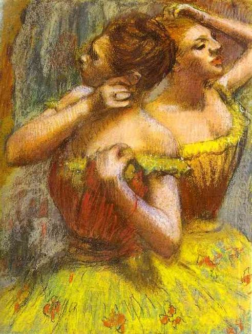 two dancers pastel on paper