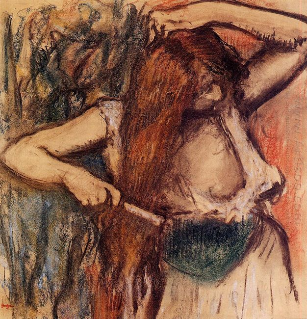 woman combing her hair 2
