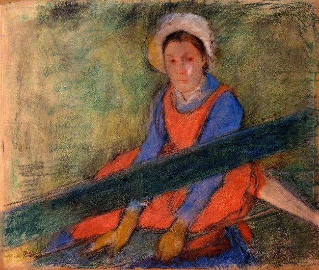 woman seated on a bench 1885