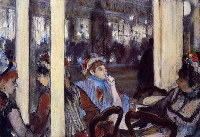 women on a cafe terrace in the evening 1877