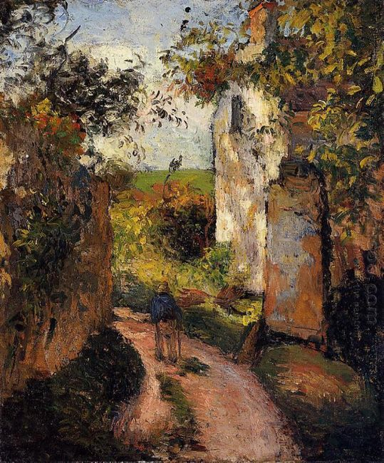 a peasant in the lane at hermitage pontoise 1876