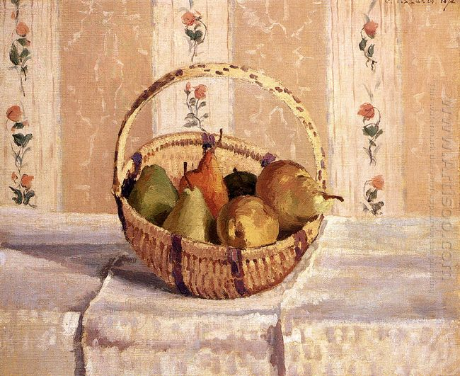 apples and pears in a round basket 1872