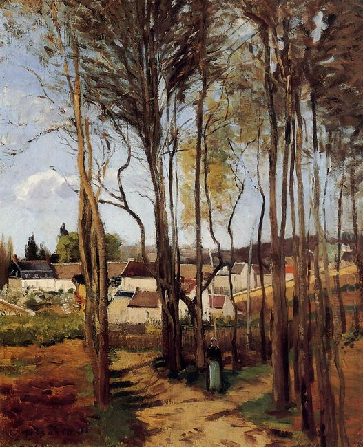 a village through the trees