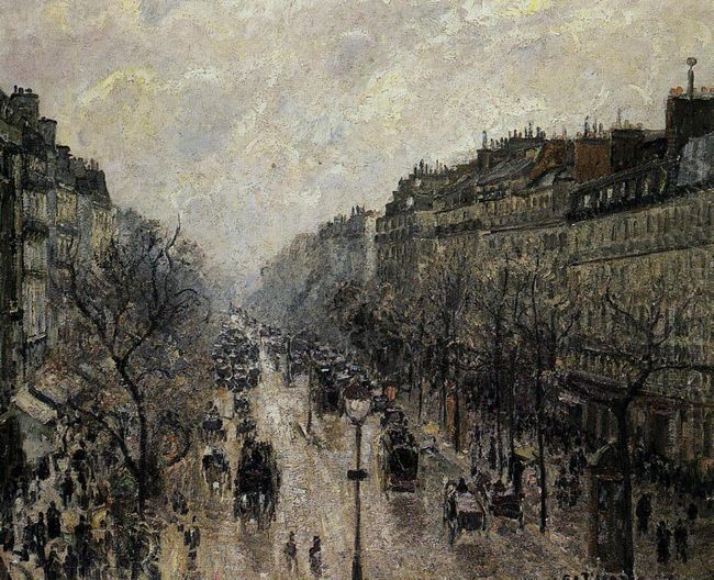 boulevard montmartre foggy morning 1897