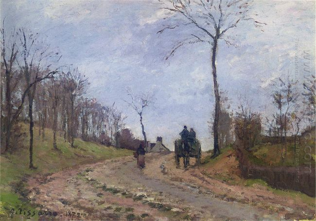 carriage on a country road winter outskirts of louveciennes 1872