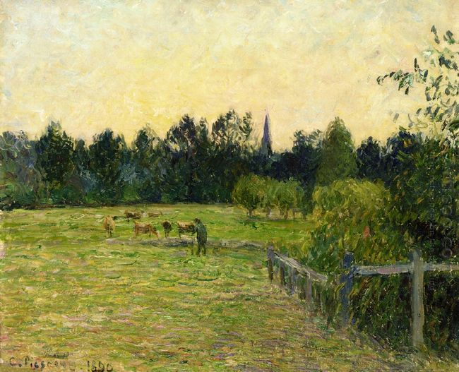 cowherd in a field at eragny 1890