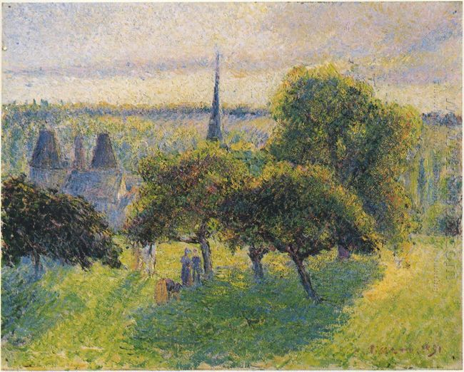 farm and steeple at sunset 1892