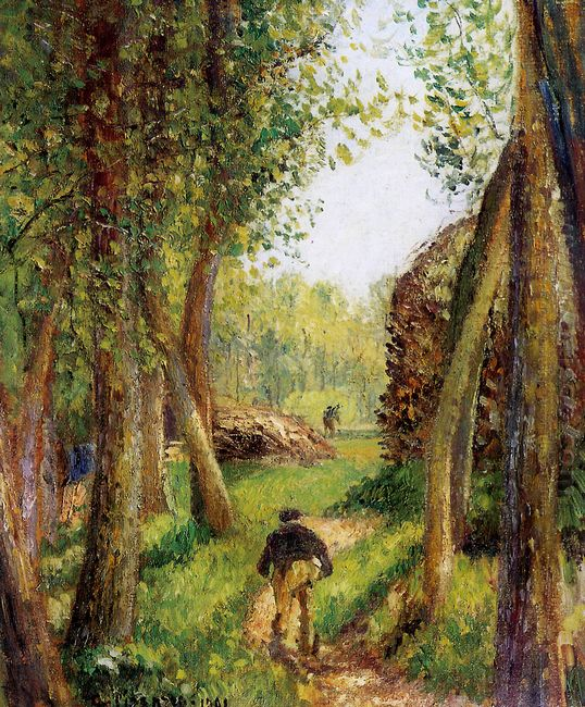 forest scene with two figures