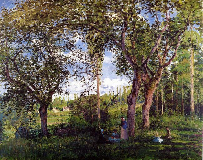 landscape with strollers relaxing under the trees 1872