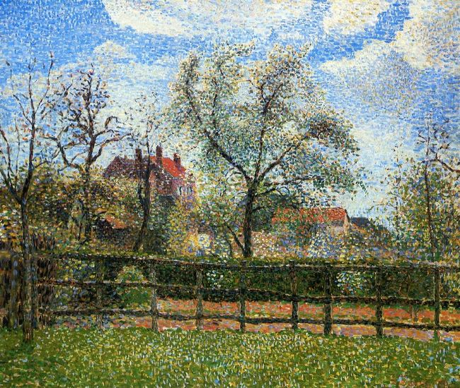 pear trees and flowers at eragny morning 1886
