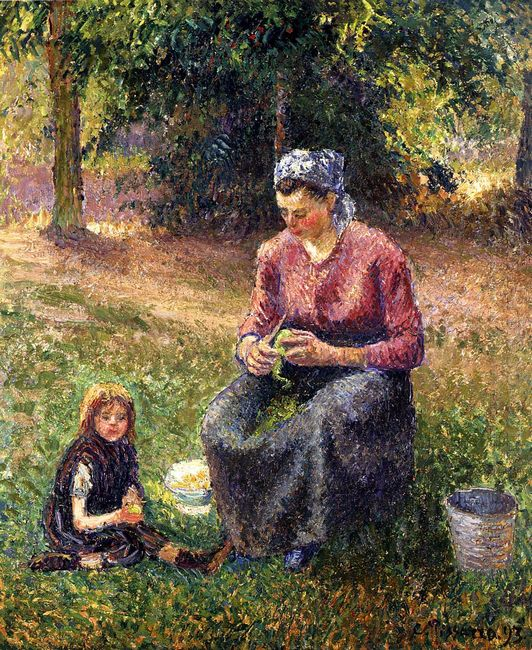 peasant woman and child eragny 1893