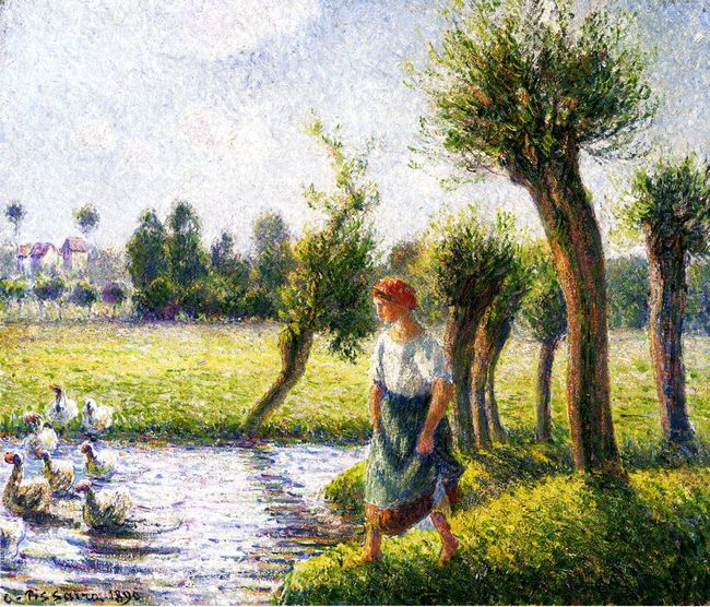 peasant woman watching the geese 1890