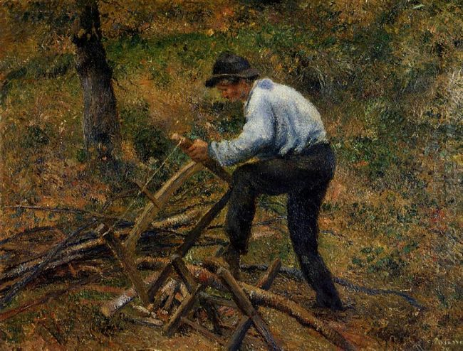 pere melon sawing wood pontoise 1879
