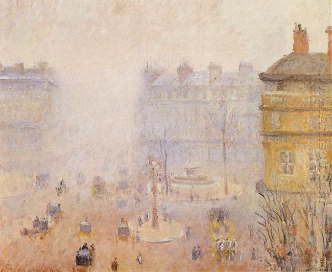 place du theatre francais foggy weather 1898