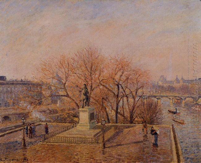 pont neuf the statue of henri iv sunny weather morning 1900