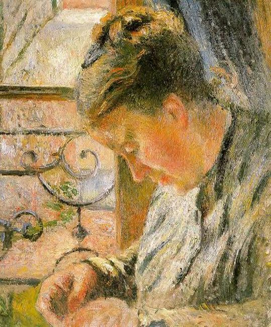 portrait of madame pissarro sewing near a window
