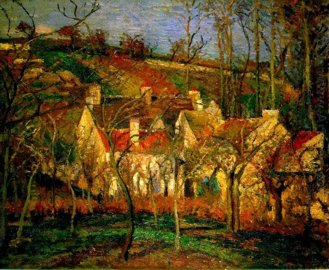 red roofs corner of a village winter 1877