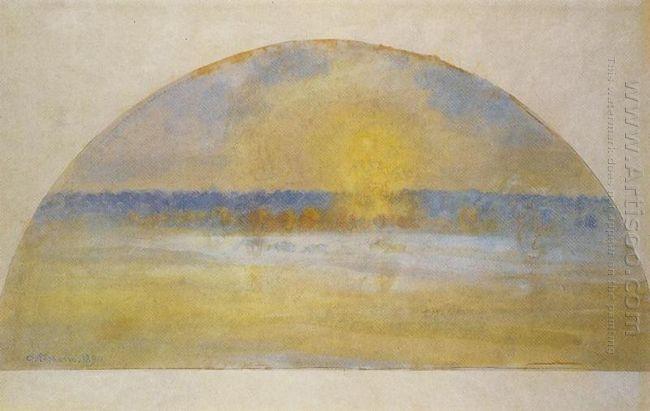 sunset with mist eragny 1890