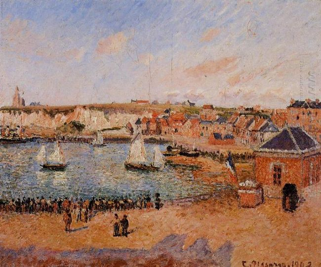 the inner harbor dieppe afternoon sun low tide 1902