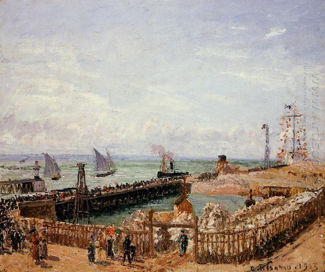 the jetty le havre high tide morning sun 1903