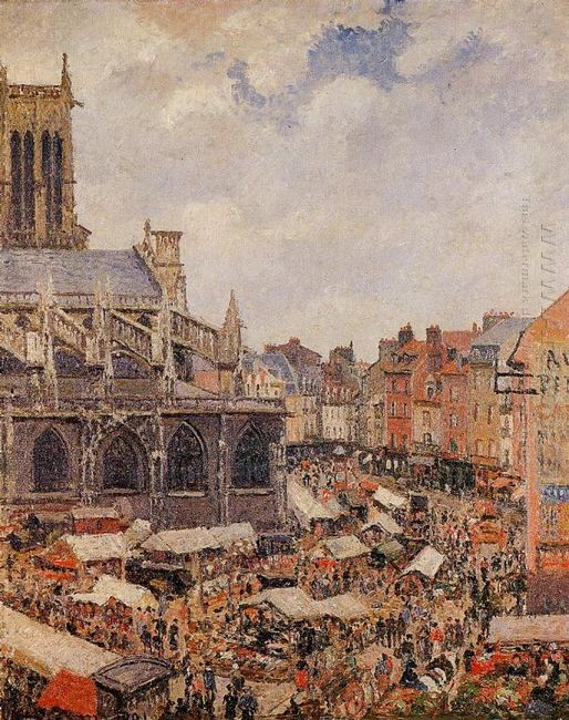 the market surrounding the church of saint jacques dieppe 1901