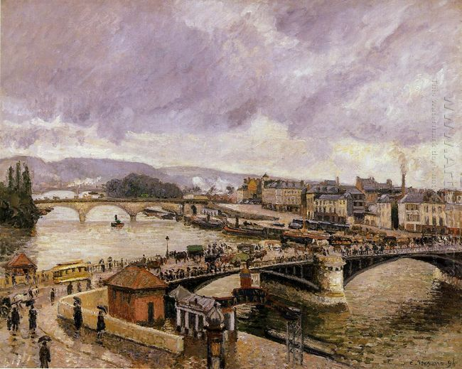 the pont boieldieu rouen rain effect 1896